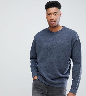 ASOS DESIGN Tall organic oversized sweatshirt with double neck in navy interest fabric