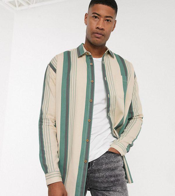 ASOS DESIGN Tall oversized 90s stripe in vintage green