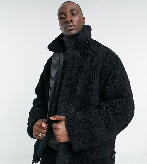 ASOS DESIGN Tall oversized aviator borg jacket in black