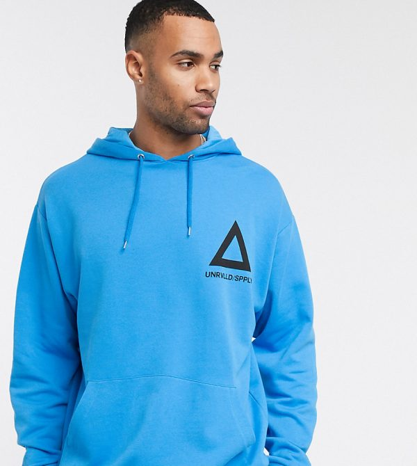 ASOS DESIGN Tall oversized hoodie in bright blue with triangle print