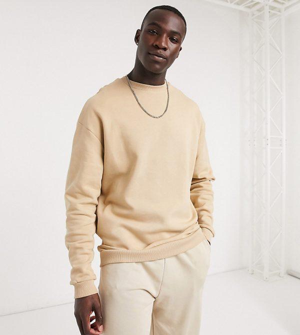 ASOS DESIGN Tall oversized sweatshirt in beige