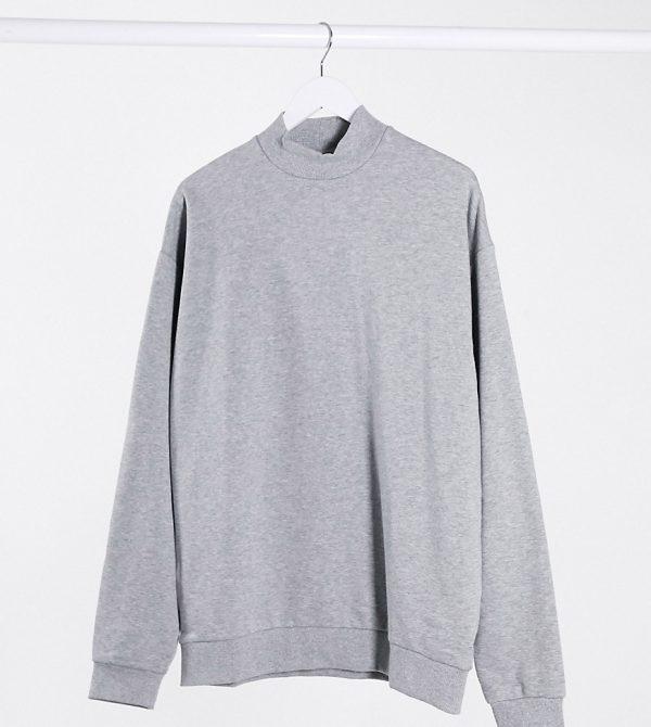 ASOS DESIGN Tall oversized sweatshirt with turtleneck in gray marl