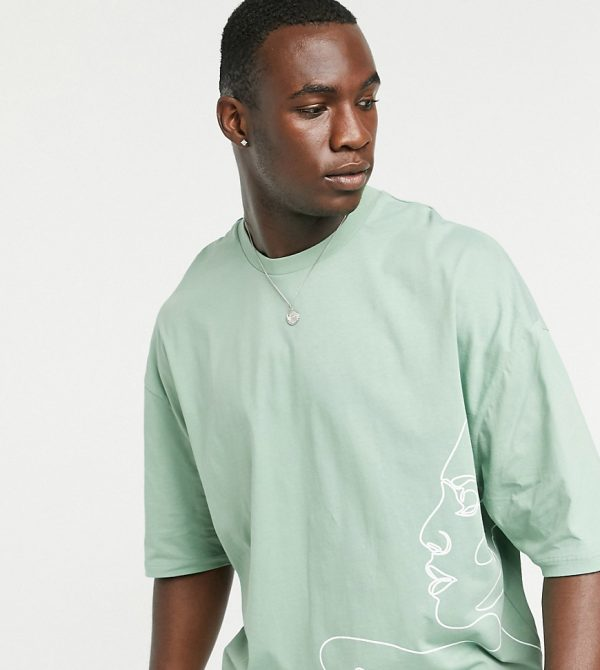 ASOS DESIGN Tall oversized t-shirt with line drawing face print-Green