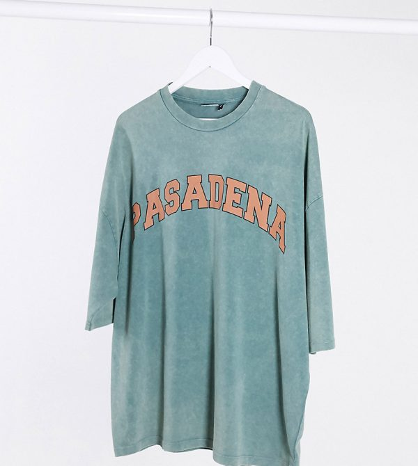 ASOS DESIGN Tall oversized t-shirt with text print in green acid wash