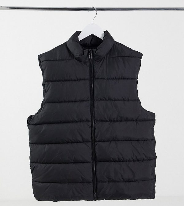 ASOS DESIGN Tall puffer vest in black