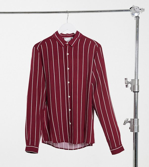 ASOS DESIGN Tall regular fit viscose stripe shirt in burgundy-Red