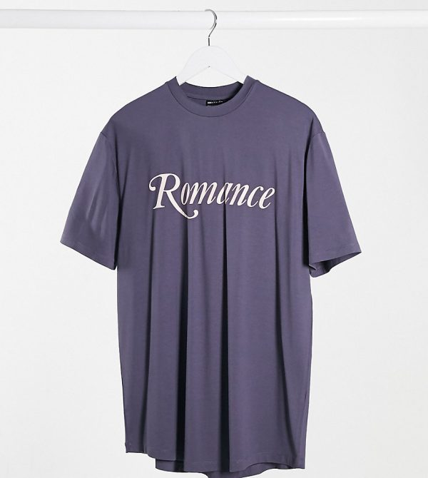 ASOS DESIGN Tall relaxed longline t-shirt with romance text print and curved hem in purple viscose-Black