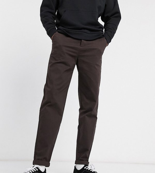 ASOS DESIGN Tall relaxed skater chinos in brown