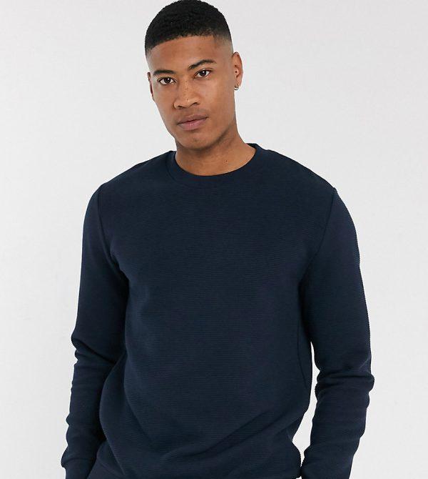 ASOS DESIGN Tall ribbed sweatshirt in navy