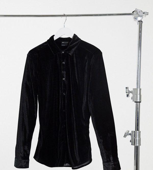 ASOS DESIGN Tall skinny fit velvet shirt in black