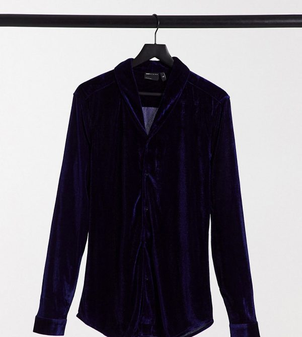 ASOS DESIGN Tall skinny fit velvet shirt with shawl collar in navy