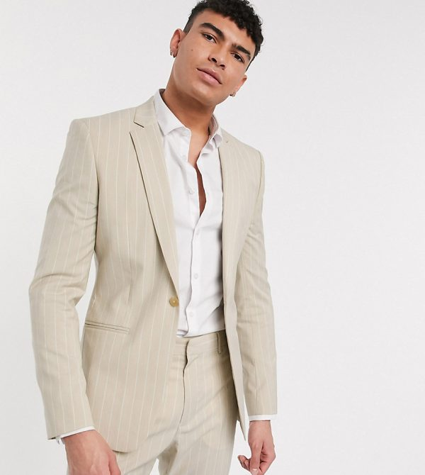 ASOS DESIGN Tall skinny suit jacket in stone pinstripe