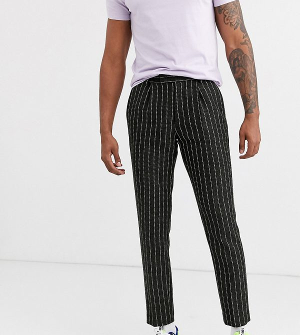 ASOS DESIGN Tall slim crop smart pants in wool mix stripe in green