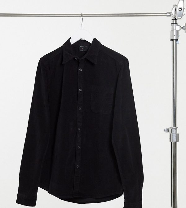 ASOS DESIGN Tall slim fit cord shirt in black