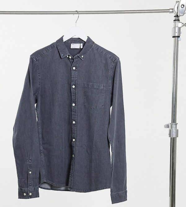 ASOS DESIGN Tall slim fit organic denim shirt in washed black-Grey