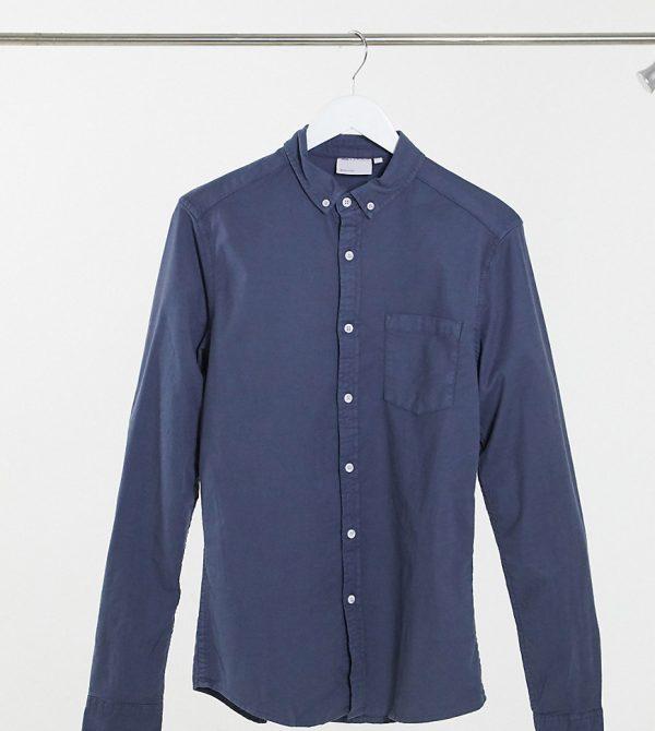 ASOS DESIGN Tall slim fit organic oxford shirt in navy