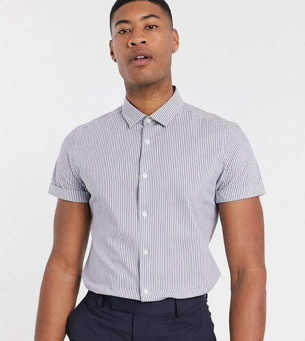 ASOS DESIGN Tall slim fit stripe work shirt in blue-Navy