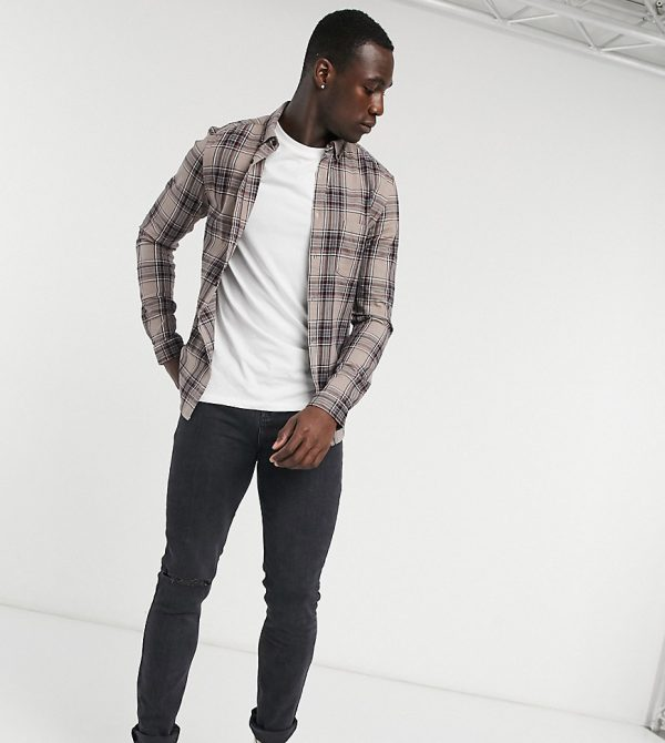ASOS DESIGN Tall stretch slim check shirt in stone and black-Beige