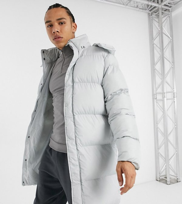 ASOS DESIGN Tall sustainable longer puffer jacket in gray-Grey