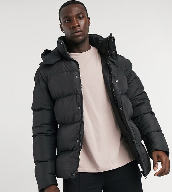 ASOS DESIGN Tall sustainable puffer jacket with detachable hood in black