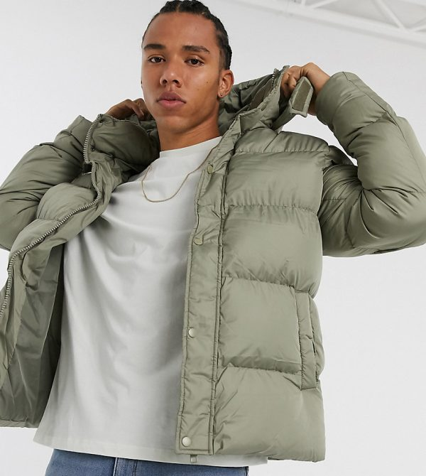 ASOS DESIGN Tall sustainable puffer jacket with detachable hood in khaki-Green