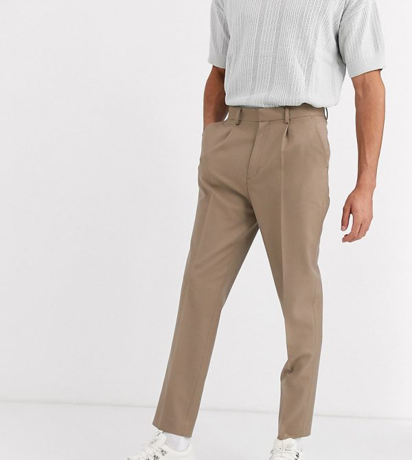 ASOS DESIGN Tall tapered crop smart pants with pleats in stone