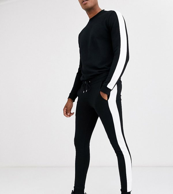 ASOS DESIGN Tall tracksuit with side stripe in black
