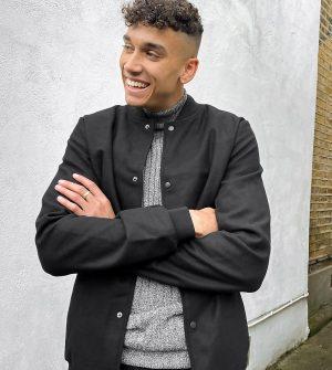ASOS DESIGN Tall varsity jacket in faux wool in black