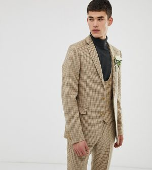 ASOS DESIGN Tall wedding skinny suit jacket in stone micro check