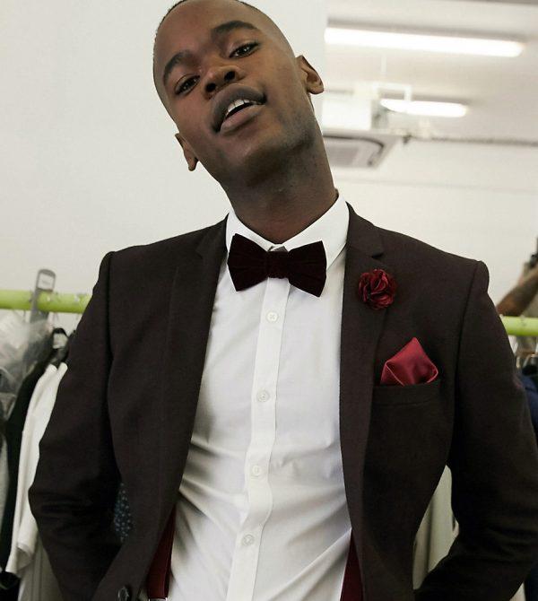 ASOS DESIGN Tall wedding skinny suit jacket in wool look in burgundy-Red