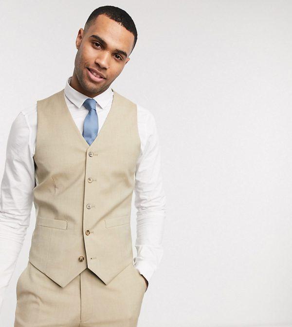 ASOS DESIGN Tall wedding slim suit vest in stone