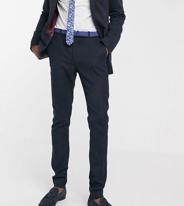 ASOS DESIGN Tall wedding super skinny suit pants in wool look in navy