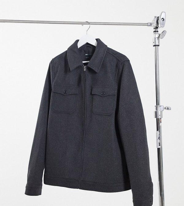 ASOS DESIGN Tall wool blend harrington jacket in gray-Grey