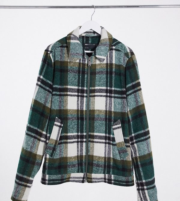 ASOS DESIGN Tall wool blend harrington jacket in green and ecru plaid