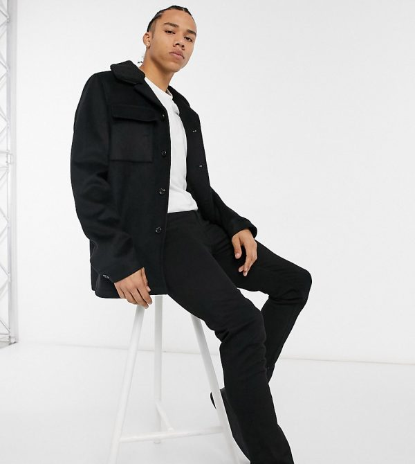 ASOS DESIGN Tall wool-blend jacket in black with contrast collar