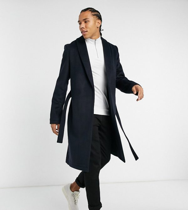 ASOS DESIGN Tall wool mix coat with belt in navy