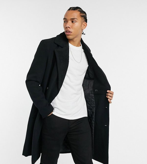 ASOS DESIGN Tall wool mix coat with borg lining in black