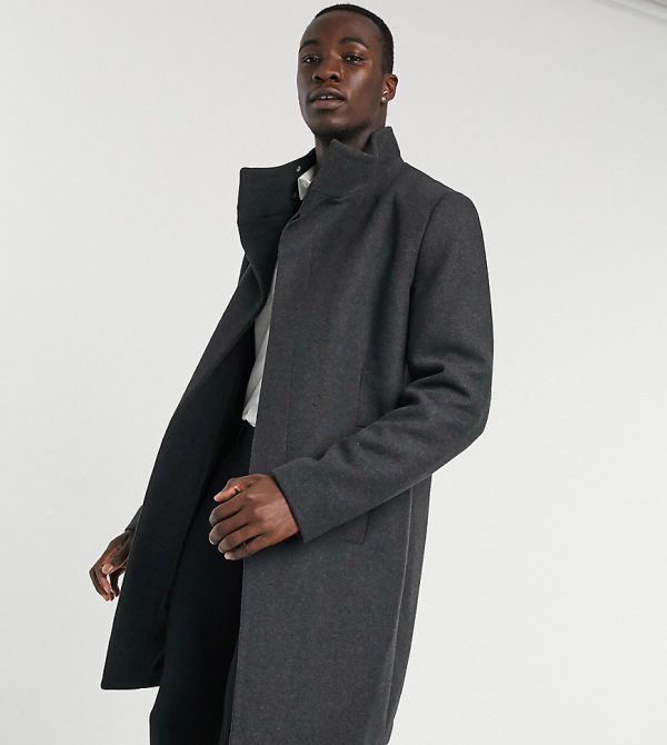 ASOS DESIGN Tall wool mix overcoat with funnel neck in charcoal-Black