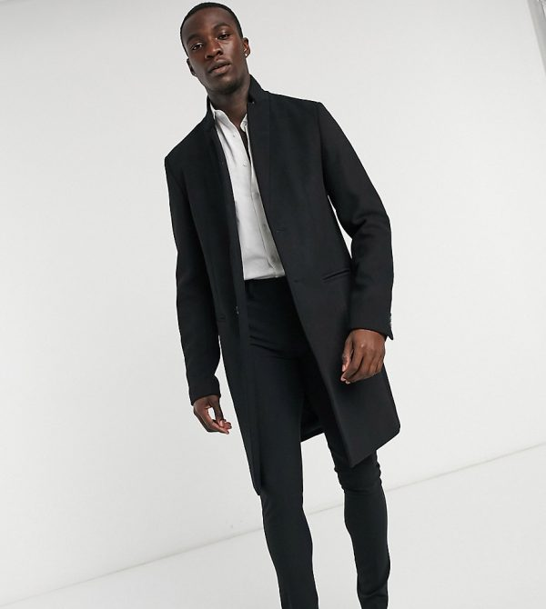 ASOS DESIGN Tall wool mix overcoat with inverted lapel in black