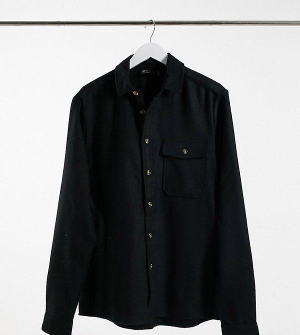 ASOS DESIGN Tall wool mix overshirt in black