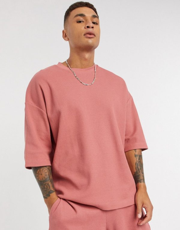 ASOS DESIGN Two-Piece oversized heavyweight waffle t-shirt in pink