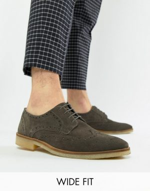 ASOS DESIGN Wide Fit brogue shoes in gray suede with natural sole