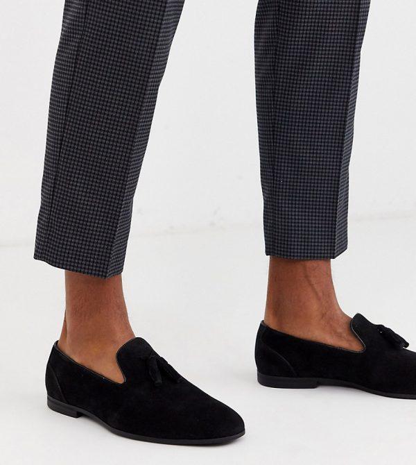 ASOS DESIGN Wide Fit tassel loafers in black faux suede