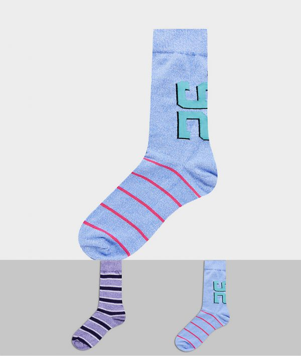 ASOS DESIGN ankle socks with Varsity design in twisted yarns 2 pack-Multi