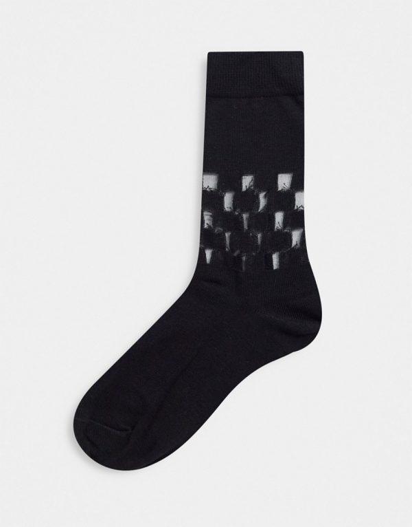 ASOS DESIGN ankle socks with sheer checkerboard details-Black