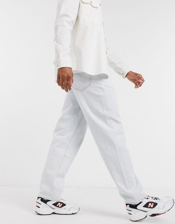 ASOS DESIGN baggy jeans in bleach wash blue