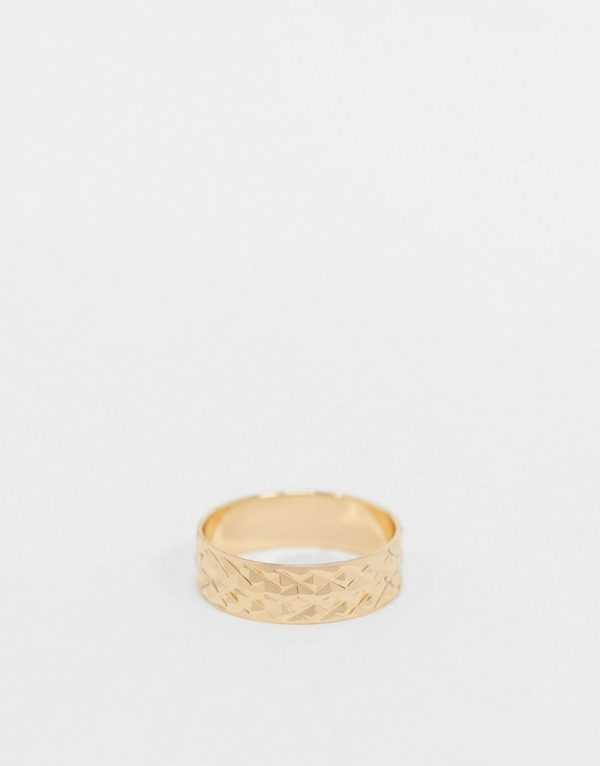 ASOS DESIGN band ring with texture design in gold tone