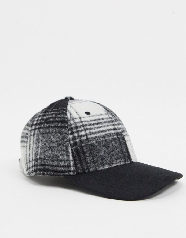 ASOS DESIGN baseball cap in black with check detail