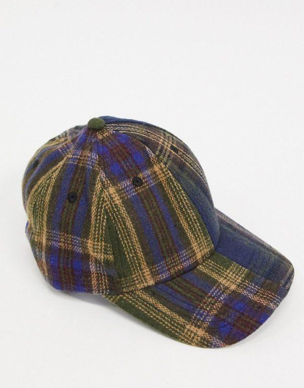 ASOS DESIGN baseball cap in heritage plaid-Navy
