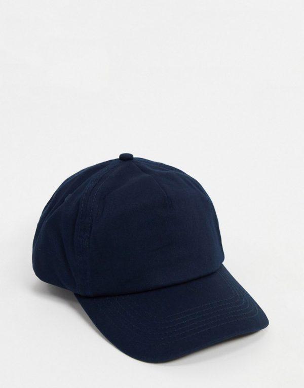 ASOS DESIGN baseball cap in navy canvas